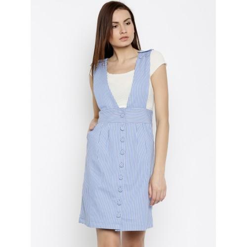 enjoy free shipping best sale sale uk Buy Vero Moda Women Blue Striped Dungaree Dress online ...