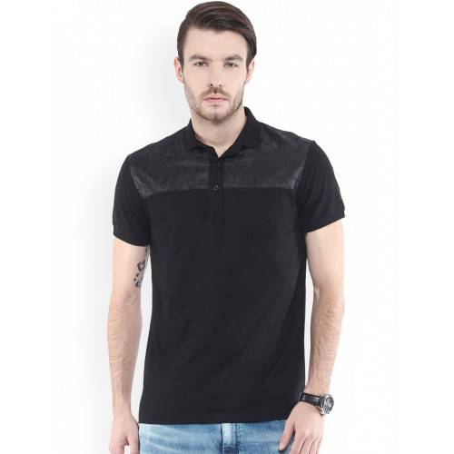 1bc38723a1ee Buy Mufti Black Slim Fit Polo T-shirt online