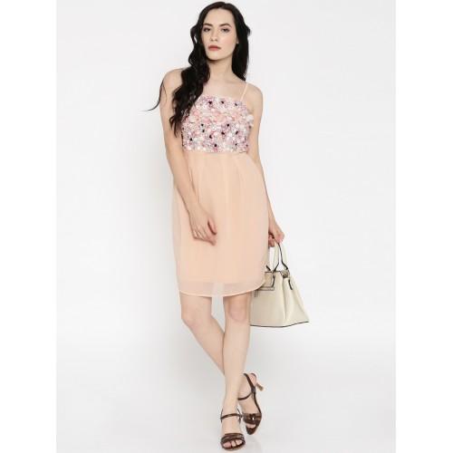 Buy Vero Moda Women Peach-Coloured Beaded A-Line Dress online ... 75e3d5d61