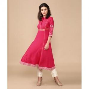 W Women Pink Printed Flared Kurta(Pink)