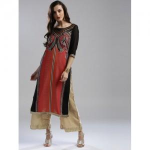 W Women Red & Black Printed Straight Kurta