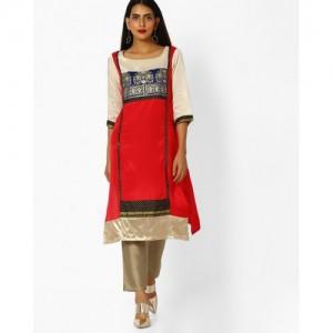W Women Red & Cream-Coloured Printed Straight Kurta