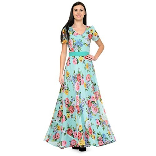 Buy Just Wow Multicolor Poly Georgette Long Gown / Dress online ...