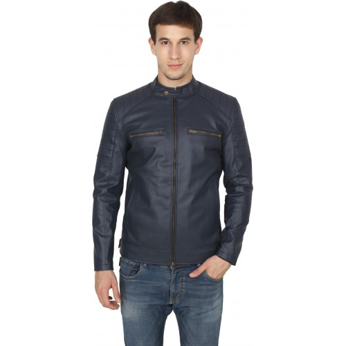 Casabella Blue Artificial Leather Full Sleeve Solid Jacket