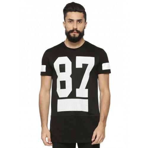 buy koovs number print mesh longline t shirt online
