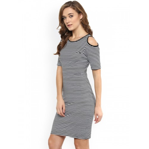 Miss Chase Womens Black and White Striped Cold Shoulder Dress