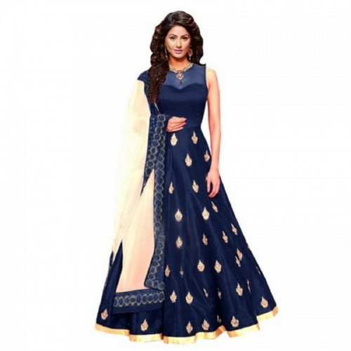 Julee Navy Blue Embroidered Illusion Neck Ball Gown