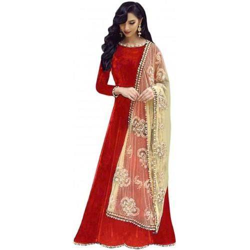 Buy Julee Red Taffeta Silk Sol...