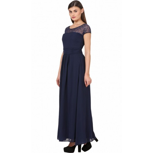Eyelet Women's Maxi Blue Dress
