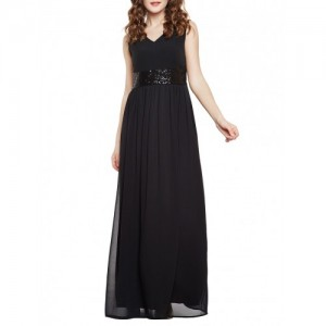 MARTINI black georgette gown dress