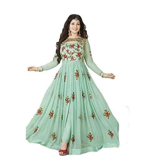 e2026b95f0 ... KanishaTrendz Women's Georgette Heay Embroidery with Stone Work Party  Wear Salwar Suit Dress Material (Light ...