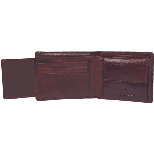 Hidelink Men Brown Genuine Leather Wallet