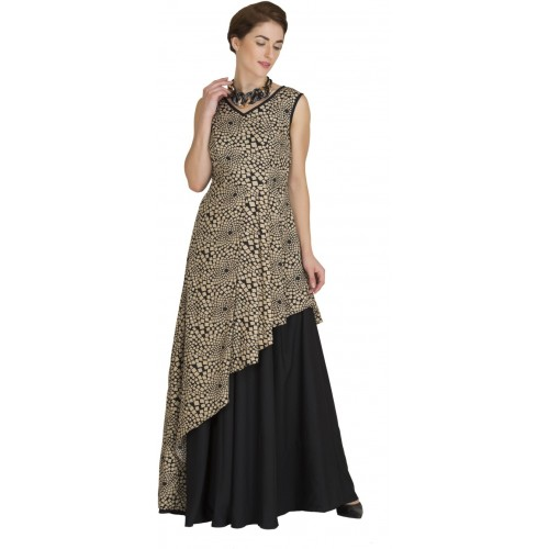 Buy Raas Prêt Women\'s Fit and Flare Golden & Black Gown online ...