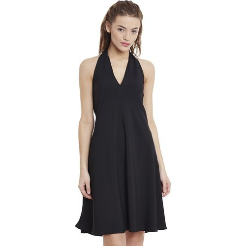 Miss Chase Women's Fit and Flare Black Dress