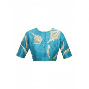Kmoxi Blue Embriodered Round-Neck Blouse Material