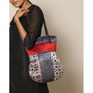 Indie Picks Ajrak Handblock Print Mashru Bag