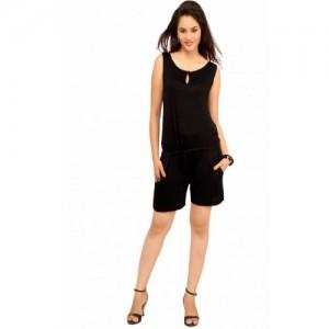Cottinfab Black Cotton Solid Jumpsuit