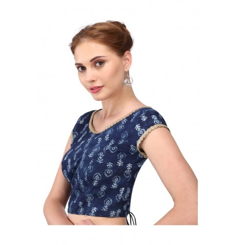 2f25ae7f79162a Buy Yosshita   Neha Dabu Hand Block Print Indigo Cotton Blouse ...