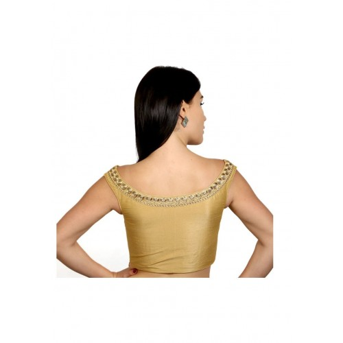 2b9817d8bed54e Rinkoo Gold Dupion Silk Boat Neck Sleeveless Embroidered Readymade Saree  Blouse ...