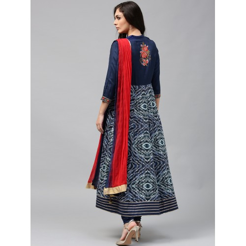 Rain & Rainbow Women Navy & White Printed Anarkali Kurta with Churidar & Dupatta