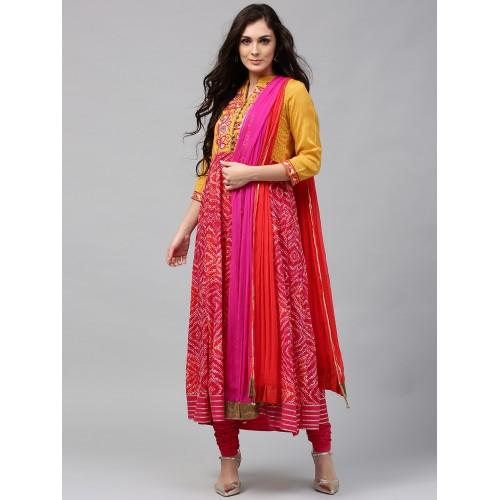 Rain & Rainbow Women Mustard Yellow & Pink Printed Kurta with Churidar & Dupatta