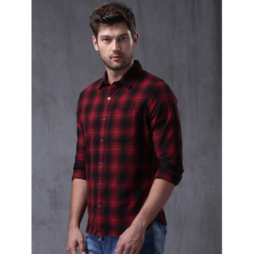 a7c8ff7d44a Buy WROGN Red   Black Slim Fit Checked Casual Shirt online