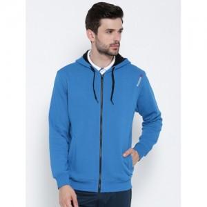 Reebok Men Blue Core Solid Hooded Sweatshirt