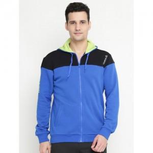 Reebok Men Blue & Black Colourblocked Hooded Athletic Sweatshirt