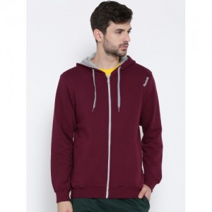 Reebok Men Maroon Core Hooded Sweatshirt