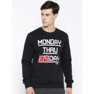 Reebok Black Everyday Crew Slim Printed Sweatshirt