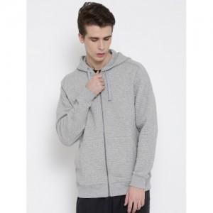 Reebok Grey Melange EL Quilted FZ Hooded Slim Training Sweatshirt