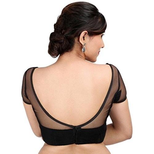 21e986dd3c ... SINGAAR Black Readymade Blouse For Women - Net Velvet- Party Wear  Design- Deep Neck ...