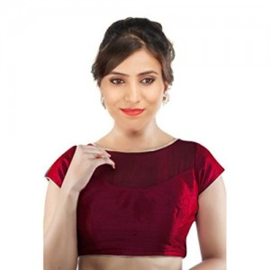 SINGAAR Maroon Readymade Blouse Design - Party Wear Back Neck With Latkan Dori - 100% Perfect Fitting