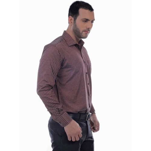 a383887f Buy Zeal Men's Striped Formal Maroon, White Shirt online | Looksgud.in