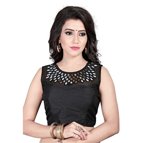 Womens Ethnic Banglori Silk Black Color Mirror Work Readymade Saree Blouse