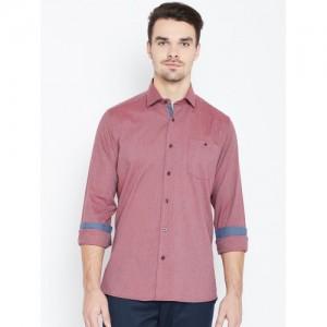 Blackberrys Men Mauve Regular Fit Solid Casual Shirt