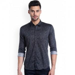 Numero Uno Men Navy Blue Slim Fit Printed Casual Shirt