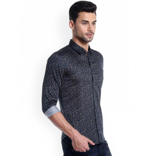 Numero Uno Men Navy Blue Slim Fit Printed Casual Shirt