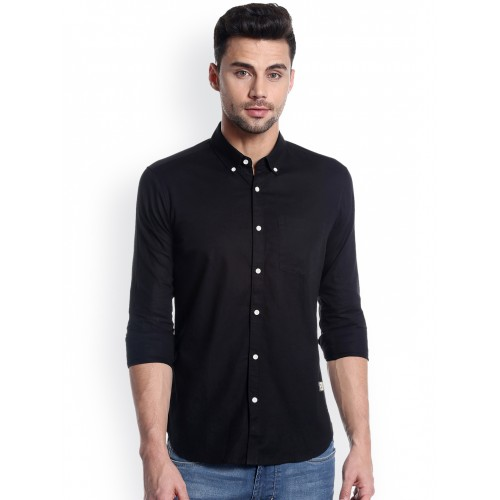 Numero Uno Men Black Slim Fit Solid Casual Shirt