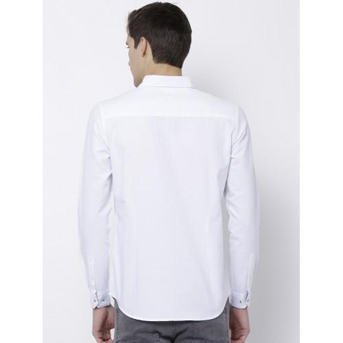 8392c15bbe Buy Black coffee Men White Slim Fit Solid Semiformal Shirt online ...