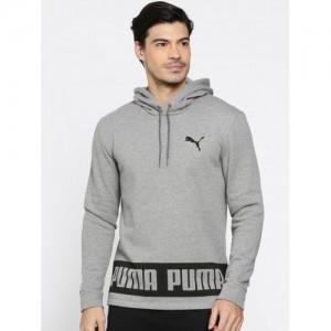 Puma Men Grey Printed Rebel Hooded Sweatshirt