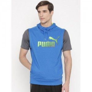 PUMA Blue Hero Printed Sleeveless Hooded Sweatshirt