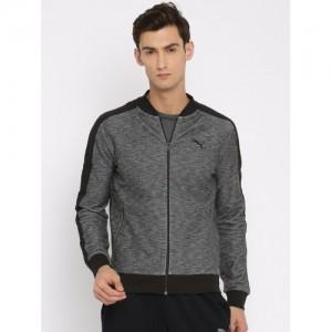 Puma Men Black Solid ZIPPERED TWILL FACE Sweatshirt