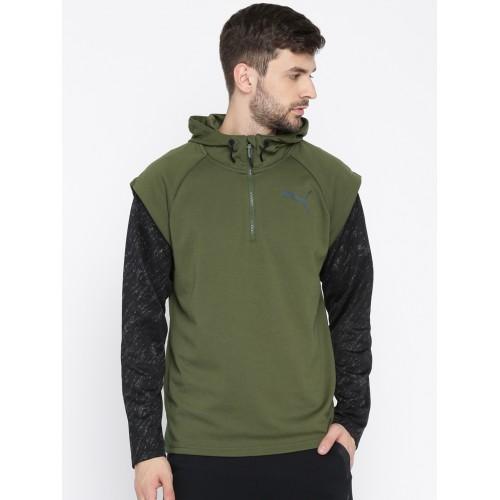 281ee4321 ... Puma Men Olive Green Solid 1/4 Zip Energy Hooded Sweatshirt ...