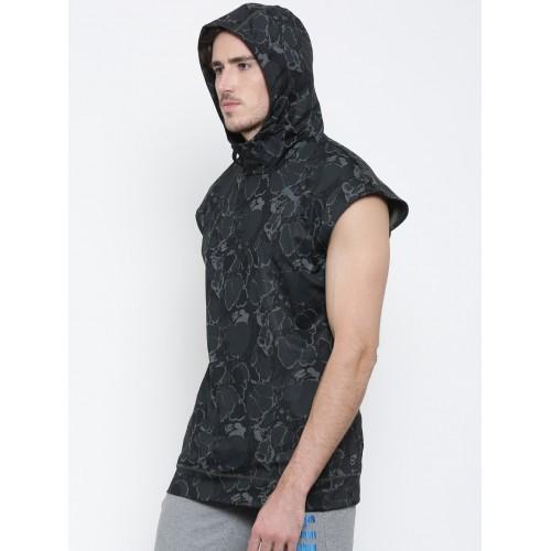 f1f930713 ... Puma Men Black & Olive Green Printed TECH FLEECE SL Hooded Sweatshirt  ...