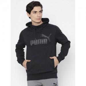 Puma Men Charcoal Grey Printed P48 Core Hoody FL Sweatshirt