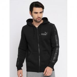 Puma Men Black Solid Hooded Rebel Tape FZ Sweatshirt