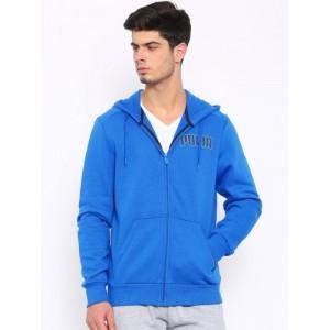 Puma Men Blue ITS Front Open Hooded Sweatshirt