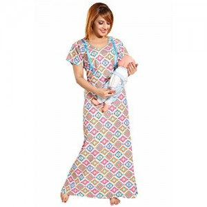 14a40ce2fc283 SOULEMO WOMENS 100% COTTON FEEDING NIGHTY / MATERNITY DRESS WITH 2 (10  inches)
