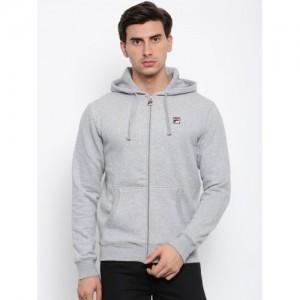 FILA Men Grey Melange Solid Hooded Sweatshirt
